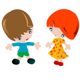 Boy and girl. Little boy and little girl, character development Stock Image