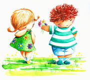 Boy and girl. Sweet boy giving a shy girl flowers.Picture I have created with watercolors Stock Photography