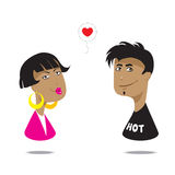 Boy and Girl. Fall in love. Vector illustration Stock Photos