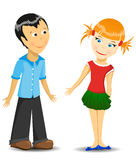 Boy and girl. In the white background. Vector illustration Stock Images