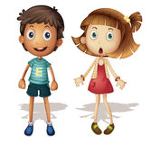 Boy and girl. Illustration of a detailed boy and girl Stock Images