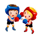 Boy and Girl. Are Boxing Royalty Free Stock Photo