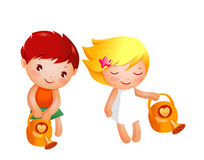 Boy and Girl. Are watering Stock Images