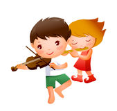 Boy and Girl. Playing musical instrument Royalty Free Stock Photography