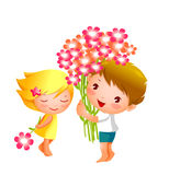 Boy and Girl. Are holding a flower Stock Photo