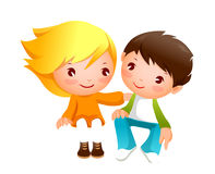 Boy and girl. A boy and girl are sitting Royalty Free Stock Photography
