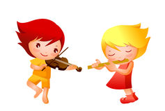 Boy and Girl. Playing musical instrument Royalty Free Stock Images