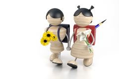 Boy and girl. 3d model boy and girl and yellow flowers Royalty Free Stock Image