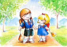 Boy and girl stock illustration