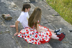 The boy and the girl. Tennagers are having fun together Stock Photography