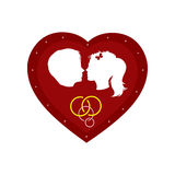 Boy and girl. Couple loving boy and girl in big red heart Stock Image
