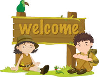 Boy and girl. An illustration of a boy and girl next to a welcome sign Royalty Free Stock Image
