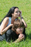Boy and girl. On the meadow Stock Photo