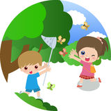 Boy and girl. Vector illustration of a boy and a girl Royalty Free Stock Image