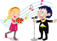 Boy and girl. Illustration of singing boy and girl Stock Images