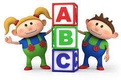 Boy and girl with ABC blocks. Cute boy and girl with ABC blocks - high quality 3d illustration Stock Image