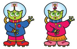 Boy and girl alien Royalty Free Stock Photography
