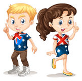 Boy and girl in american t-shirts Stock Images