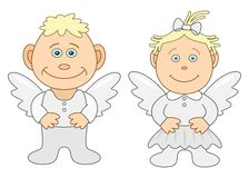 Boy and girl angels Stock Photos