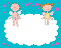 Boy and girl angels on a cloud. Day valentine Royalty Free Stock Photo