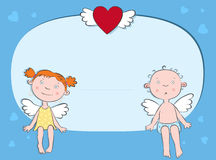 Boy and girl angels postcard. Boy and girl angels on a cloud Royalty Free Stock Photos