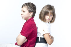Boy and a girl are angry at each other Royalty Free Stock Photo