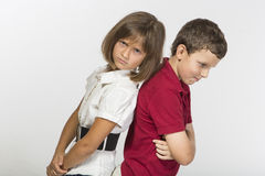 Boy and a girl are angry at each other Royalty Free Stock Photography