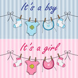 It is a boy and it is a girl announcement Stock Images