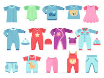 Boy and girl baby garments. Infant vector clothes Stock Photography