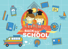 Boy and girl back to school. Vector design Royalty Free Stock Photos