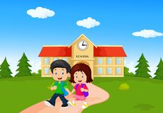 Boy and girl with backpacks stock illustration