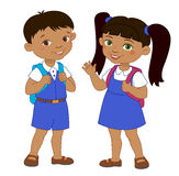 Boy and girl with backpacks pupil stay cartoon school  Royalty Free Stock Photos