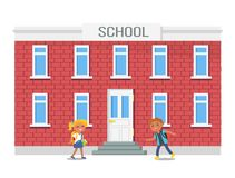 Boy and Girl with Backpacks Running into School. Building vector illustration isolated on white. Vector illustration of children hurrying on study Stock Images