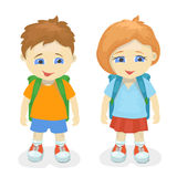 Boy and girl with backpacks.  Royalty Free Stock Image