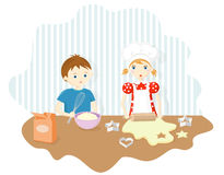 Boy and girl baking cookies vector illustration