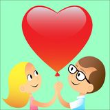 Boy girl ball red heart. Love with a boy and a girl with a balloon in the shape of a red heart royalty free illustration