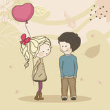 Boy and Girl with balloon. Chatting on a windy day Stock Photos