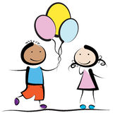 Boy, girl and balloons. Boy gives balloons of the girl and her is ashamed vector illustration