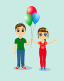 Boy and girl with balloons. Happy boy and girl with balloons Royalty Free Stock Photography
