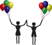 Boy and girl with balloons Stock Photography