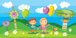 Boy and a girl with a balloons Stock Images
