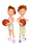 Boy and girl with balls for basket-ball Stock Photos