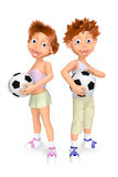 Boy and girl with balls for soccer. 3D illustration of boy and girl with balls for soccer Stock Photo