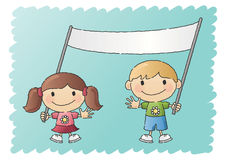 Boy and Girl with Banner Royalty Free Stock Photos