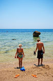 Boy and girl on the beach. In Sharm el sheik Royalty Free Stock Photo