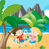 Boy and girl on the beach. Illustration Royalty Free Stock Photos