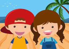 Boy and girl on the beach. Illustration Stock Image