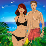 Boy and girl on the beach together. Vector illustration of a holiday. In hot countries Stock Photos