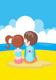 Boy and Girl in the beach Stock Images