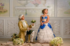 Boy and girl in a beautiful dress royalty free stock photography